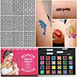 Glitter-Tattoo-Set, Temporäre Tattoos & Körperkunst Make Up Glitzer Körper Schminkset Glitzer für Kinder Jugendliche Erwachsene, mit 24 Farben der Glitzer, 120 Tattoo Schablonen