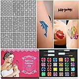 Kit de Tatuaje Temporal de Brillantina, Cara Cuerpo Pintura con 24...