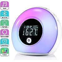 Réveil Lumineux avec Haut-parleurs Bluetooth, ZOTO Réveil Enfant avec écran LCD, 5 Ajustement de la Couleur,4 Luminosité, Veilleuse à Induction par Vibration pour Enfants, Fête, Chambre à coucher