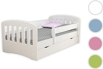 Kocot Kids Kinderbett Jugendbett 80x160 80x180 mit Rausfallschutz Matratze Schubalde und Lattenrost Kinderbetten für Mädchen und Junge - Classic I