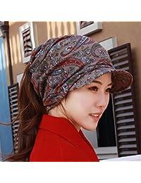 HAPPY-Cap Sombrero Mujer Viento Nacional multifunción pañuelo Gorras  Orejeras Suaves a lo Largo de la Personalidad Gorras Cola de… 172ff89b4d2