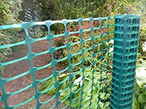 Green plastic fencing mesh 1mx25m. 3.5kg/roll (140g/m2). Barrier fencing mesh for garden fences, sports events, barricades, dog and pet areas. Manufactured from polypropylene plastic, green garden mesh is a temporary fencing product and supplied on 25m rolls.