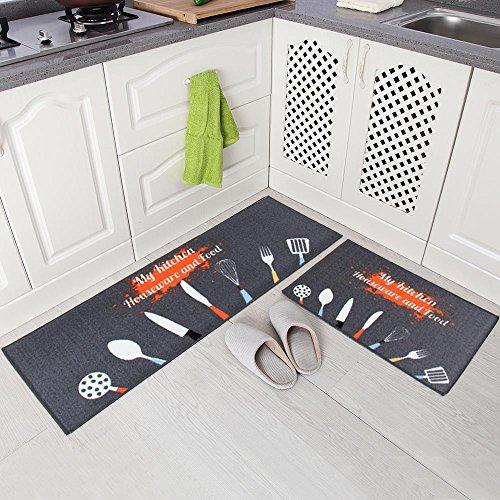 Carvapet 2 Stück rutschfeste Küchenmatte Rückseite aus Gummi Fußmatte Läufer Teppich Set (40 x 120 cm + 40 x 60 cm) Küchengeräte Design (Grau)