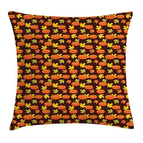 Pumpkin Throw Pillow Cushion Cover, Halloween Themed Illustration Maple Tree Leaves and Squash Plants Abstract Pattern, Decorative Square Accent Pillow Case, 18 X 18 Inches, Multicolor
