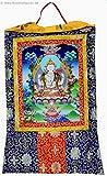 Thangka Chenrezig Avalokitesvara Kunstdruck im tibetischen Brokatrahmen 105cm x 63cm