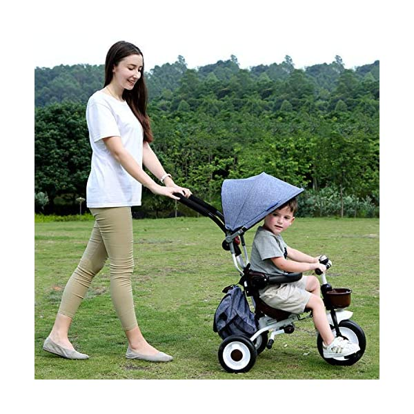 BGHKFF 4 In 1 Childrens Folding Tricycle 5 Months To 5 Years Silent Blockable Rear Wheels Childrens Tricycles Folding Sun Canopy Push Handle Child Trike Maximum Weight 60 Kg,Blue BGHKFF ★ 4-in-1 multi-function: convertible into stroller and tricycle. Remove the guardrail and awning as a tricycle. ★Material: Thick carbon steel, suitable for children from 5 months to 5 years old, maximum weight: 60 kg ★ Tricycle foldable, space saving, easy to carry, great gift: perfect gift for children's birthday or Christmas. Easy to assemble When you don't use it, you can fold it and store it in any corner. 2