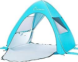 Wolfwise UPF 50+ Easy Pop Up Beach Tent Sun Shelter Instant Automatic Portable Sport Umbrella Baby Canopy Cabana Blue Medium