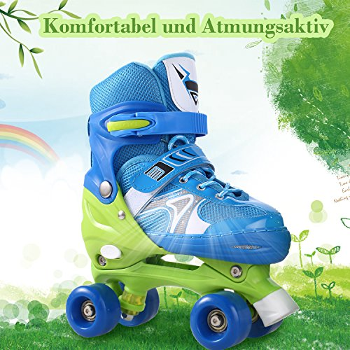AMdirect Kinder einstellbare zweireihige Rollschuhe, Training Rollerblade mit PVC-Rad und Mesh atmungsaktive Inline-Skates für Jungen Mädchen (Blau, 31-34)