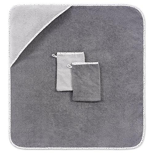 Baby-Kapuzenhandtuch-Kapuzentuch-80x80-cm-inkl-2-GRATIS-Waschlappen-Schadstoffgeprft-nach-ko-Tex-Standard-100-Frottee-100-Baumwolle-Sternchen-Grau