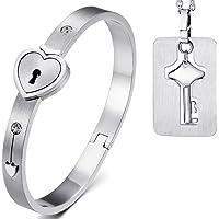 JewelryWe Gioielli Bracciale e Collana da Uomo Donna 2pezzi Acciaio Inossidabile Amore Cuore Serratura Bracciale…