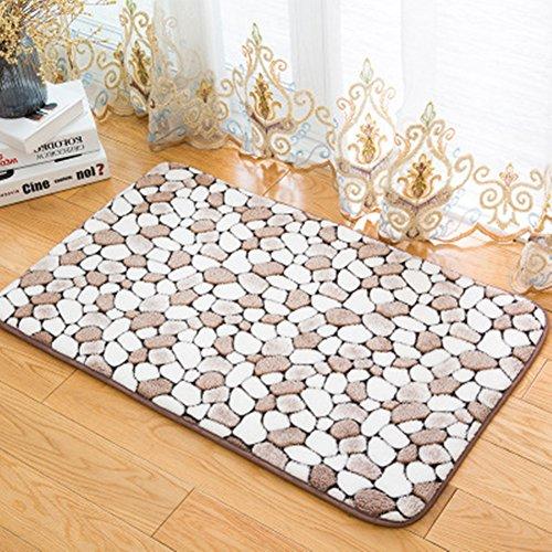 Morbuy Hochflor Korallen Samt Shaggy Schmutzfangmatte Teppich Anti-Rutsch-Bequeme Badematte Badezimmer-Teppich Super saugfähiger weicher Duschteppich-Indoor/Outdoor geeignet (50x80cm, Kaffee) -