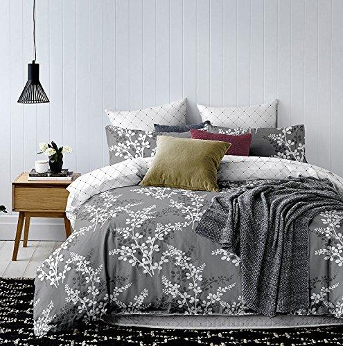 Decoking set copripiumino e federe matrimoniale completo biancheria da letto grigio acciaio bianco hypnosis calluna 220x230 cm + 2 federe 50x75 cm