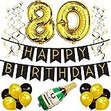 80. Happy Birthday Girlande – Schwarz & Gold Deko Geburtstag, Luftballons, Pom Poms und Spiralgirlande Silber – Party Zubehör