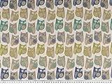 Zanderino ab 1m: Jacquard Dekostoff, Eulen, multicolor,