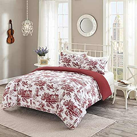 URBAN HABITAT Astoria Easeful Village British Life Printed Duvet Cover and Pillowcase Set, 100% Breathable Cotton, Trendy Quilt Bedding Set (King, Bordeaux)