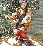 20 - 21 cm ÖLBAUM - PREMIUM - Passions- und Krippenfigur Heiliger Josef von Nazareth mit Zimmerer-Winkel, Ziehvater Jesu mit Kind aus Nazaret, Schutzpatron von Arbeiter, Zimmerer und Holzfäller, Patron in dunkelblau-rotem Gewand / Mantel - alle ÖLBAUM HEILIGEN- und Krippenfiguren zeichnen sich durch extrem sauber gearbeitete und präzise Gesichtszüge der Figuren aus, coloriertes Holzfiguren- bzw. Echtholzimitat, standfest, liebevoll handbemalt