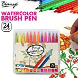 #3: Bianyo 24 Color Premium Watercolor Painting Brush Marker Pens Set, Soft Flexible Tip Create Watercolor Effect - Best for Adult Coloring Books, Manga, Comic, Calligraphy