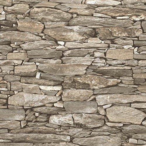 Debona, carta da parati effetto mattoni rustici (pietra in ardesia) design 3D realistico  1282 - Beige