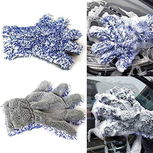 Preisvergleich Produktbild Sguan-wu Auto Reinigung Weichkorallen Fleece Wasser absorbieren fünf Finger Handschuh Waschwerkzeug - Blau + Grau