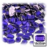 La Salida De Manualidades 144acrílico aluminio parte trasera plana Octagon rectángulo brillantes, 10por 14mm), color azul