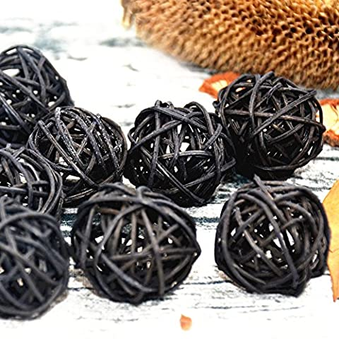 10PCS Black Decorative Wicker Rattan Ball, Vase Filler, Wedding Centerpices, Cat Dog Chew Toys, Nursery Mobiles, Hanging Ball Decoration, Xmas Tree Ornament