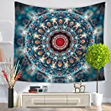 GWELL Mandala Wandteppich Psyschedelic Wandbehang Tischdecke Tapestry Strandtuch Hippie Wall Hanging Muster-B 150*130cm