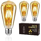 LED Edison Vintage Bulb,Woowtt E27 LED Light Bulb,6W LED Filament Bulb,Retro Amber Glass Screw Lamp,ST64,600LM,6W - 3 Pack