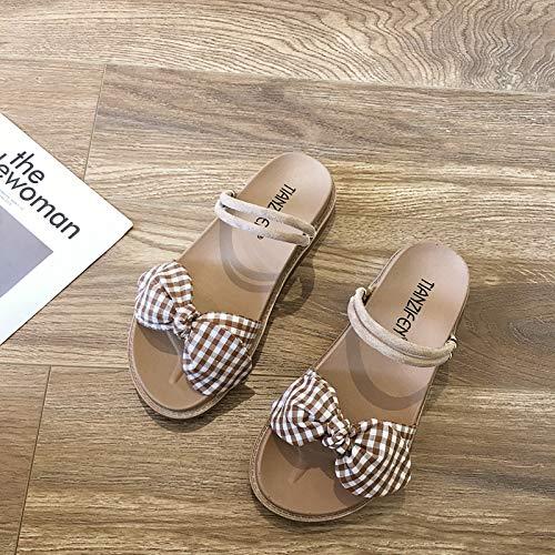 Uhrtimee Hausschuhe weiblich 2019 Sommer Neue Wort Flache Sandalen und Hausschuhe Studenten Plaid Bow Fairy Schuhe, 39, Khaki - Brown Plaid Bow