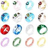 16 قطعة الراتنج الاكريليك خواتم للنساء - خاتم إصبع لطيف للفتيات، ملون شفاف راتنج خاتم ، هدية للنساء، YWLI