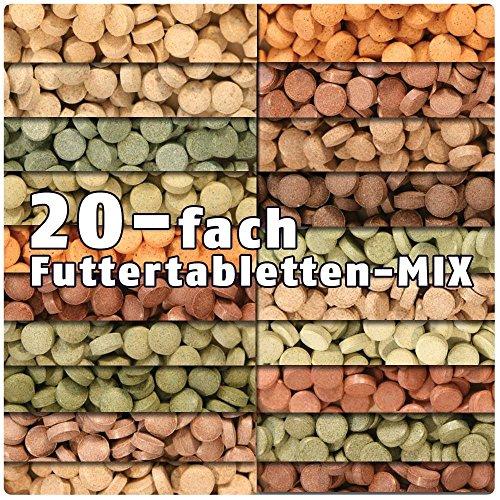 AQUALITY PREMIUM Futtertabletten-MIX '20 Sorten' 500 ml (Eine täglich ausgewogene Mischung von 20 verschiedenen Futtertablettensorten für Ihre Aquarium-Fische. Leckeres Fischfutter in Premium-Qualität)
