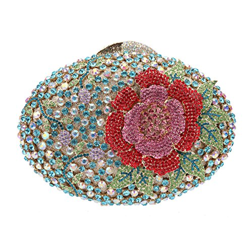 Bonjanvye Glitter Flower Clutch Purses Rhinestones and Handbags for Girls Red Light blue