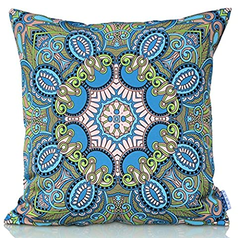 Sunburst Outdoor Living 45cm x 45cm CHARITY Teal and Olive Green Decorative Throw Pillow Cushion Cover for Couch, Bed, Sofa or Patio - Only Case, No