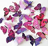 Dosige 12 PCS 3D Butterfly Murals Decor Pegatinas de pared Artesanía Mariposas Calcomanía...