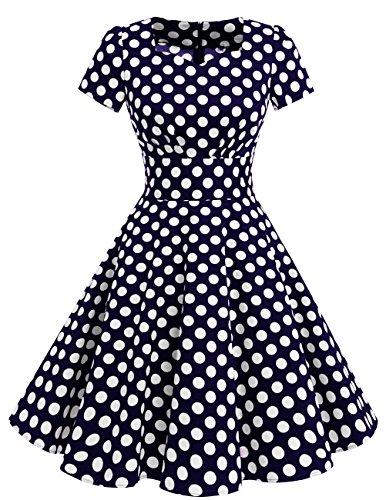 Dresstells Damen Vintage 50er Rockabilly Kurzarm Swing Kleider Partykleid Navy White Dot 3XL
