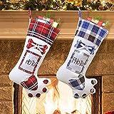 SPECOOL 2Pcs Pet Dog Paw Christmas Stockings with Paw 19 In Christmas Tree Hanging Stockings with Photo Storage for Family Santa Xmas Decorations