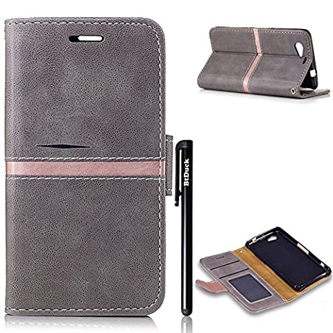 Ledertasche Schutzhülle für Sony Xperia Z1 Compact Grau,BtDuck Ultra Slim