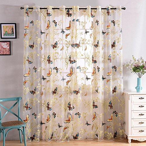 Top Finel cortina transparente de paneles para sala de estar,visillo de mariposa,140 cm anchura por 245 cm longitud,ojales,solo panel