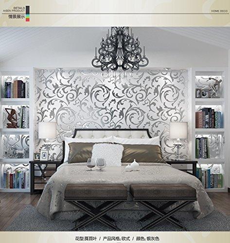 Preisvergleich Produktbild 3D dreidimensionale Vliestapete Continental Hahnenfuß Süßkartoffel Blätter grün Schlafzimmer Nacht Wohnzimmer TV Hintergrundbild ( Color : Silver )