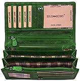Hill Burry Leder Geldbörse | echtes Vintage Leder - XXL weiches Portemonnaie (Grün)
