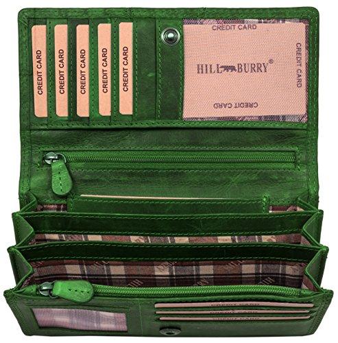Hill Burry Leder Geldbörse | echtes Vintage Leder - XXL weiches Portemonnaie (Grün) -