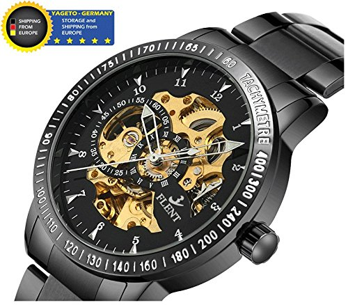 TOM EISENMANN FLENT Skeleton mechanische Herren Edelstahl Automatik Armbanduhr Uhr Ø 42mm Metallarmband Skelett Herrenuhr Analog edel sportlich (schwarz-schwarz/Gold-Uhrwerk)