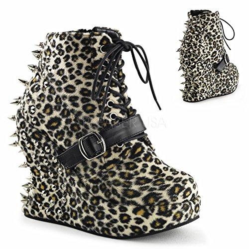 Pleaser Bravo-23, Damen Kurzschaft Stiefel, Leopard Print Fabric - Größe: 37.5 (Wedge Booties Print Leopard)