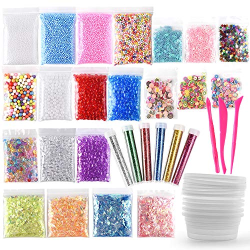 Fepito 35 Lot kit de fabrication de Slime Slime Fournitures Y Compris Aquarium, perles, balles en mousse, paillettes, Confetti, boîtes de rangement, outils de Slime pour DIY Craft Homemade Slim