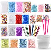 FEPITO 35 Pack Slime Making Kit Slime Supplies Including Fishbowl Beads, Foam Balls, Glitter, Confetti, Storage Containers, Slime Tools for DIY Craft Homemade Slime(Contain No Slime)