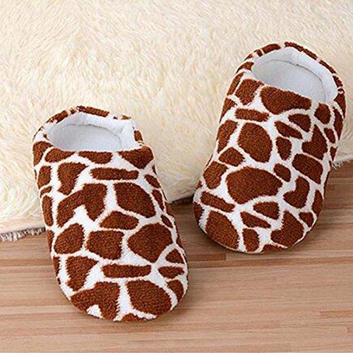 Molleton Enfants Chaussons Coton étage Pantoufles Femmes Hommes Chaussures Indoor Peau de Cerf
