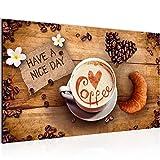 Bilder Küche Kaffee Wandbild Vlies - Leinwand Bild XXL Format Wandbilder Wohnzimmer Wohnung Deko Kunstdrucke 70 x 40 cm Braun 1 Teilig -100% MADE IN GERMANY - Fertig zum Aufhängen 501214a