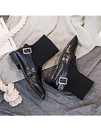 Shukun Botines Calcetines Botas Botas de Mujer Parte Inferior Plana Otoño Punto Botas Pitillo Botas de