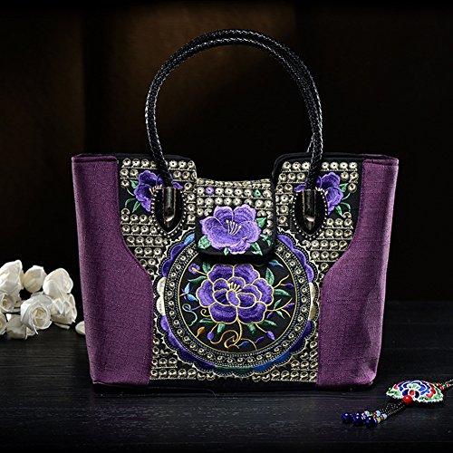 Gestickte Tasche Handtasche Bestickte Messenger Bag Handtasche Umhängetasche Canvas Bag , lila - Canvas Gestickte Handtasche