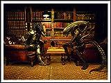 imagenation Alien Vs Predator Jugar ajedrez '-60cm x 80cm, impresión digital sobre pizarra, autoadhesivo papel pintado Póster
