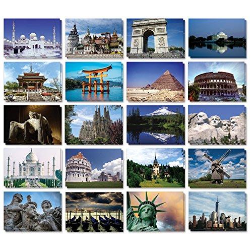 Foto de Set de 40varios colores mundo postales Collection Variety Pack Mundo Tema Self Mailer Side postales 20diferentes diseños de correo, 2de cada, 40Pack ahorro de franqueo–4x 6pulgadas